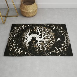 Tree of Life - Yggdrasil - black white and gold Rug