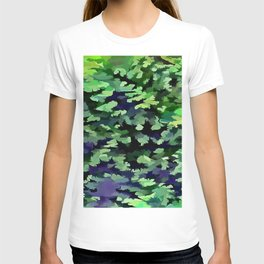 Foliage Abstract Camouflage In Forest Green and Black T-shirt