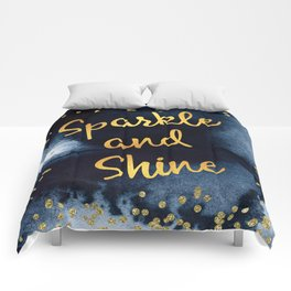 Sparkle And Shine Gold And Black Ink Typography Art Comforters