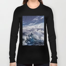 Stormy sea with water droplets Long Sleeve T-shirt