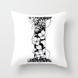 Floral Pen and Ink Letter I Throw Pillow