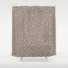 PolkaDots-Peach on Taupe Shower Curtain