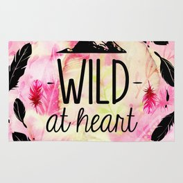 Wild at Heart - Boho Feathers and Mountain Rug