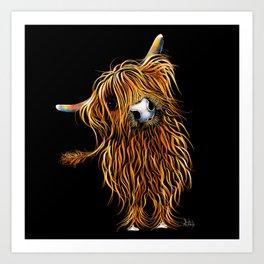 HIGHLAND COW PRINTS of Original SCOTTISH Painting  'CoooWeee on BLaCK ' SHIRLEY MACARTHUR Art Print