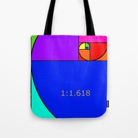 fibonacci Tote Bags featuring Fibonacci Spiral by Arts and Herbs