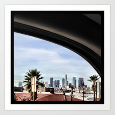 Driving by the LA skyline. Art Print
