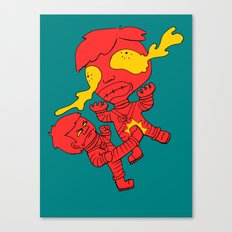 Astronaut getting kicked because the world needs this -- funny cartoon drawing in red and yellow Canvas Print