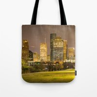 houston Tote Bags featuring houston skyline by franckreporter