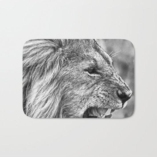 Lion head black and white Bath Mat