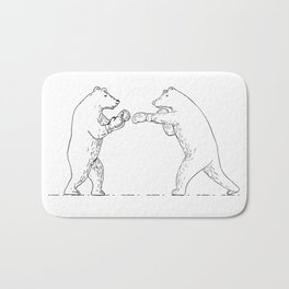 Two Grizzly Bear Boxers Boxing Drawing Bath Mat
