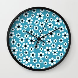 Dizzy Daisies - teal - more colors Wall Clock