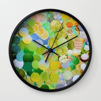 melissa smith Wall Clocks featuring Granny Smith by John Turck