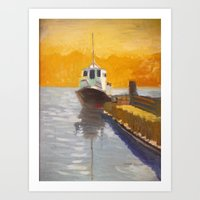Tug boat on the VVaccamavv river Art Print