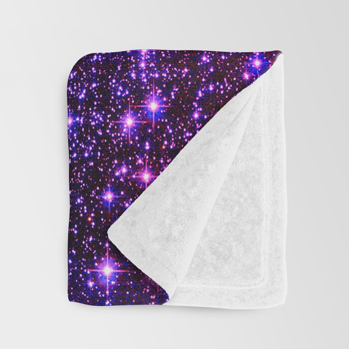 Glitter Galaxy Stars : Turquoise Blue Purple Hot Pink Ombre Throw Blanket