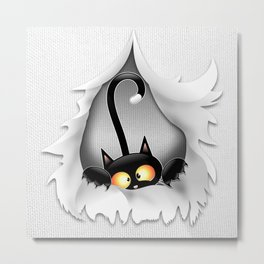 Fun Cat Cartoon in ripped fabric Hole Metal Print