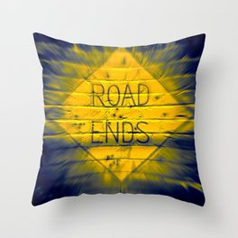 The Road Ends Throw Pillow
