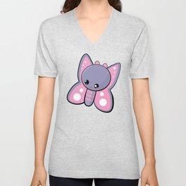 Purple Butterfly Emoji Kawaii Unisex V-Neck