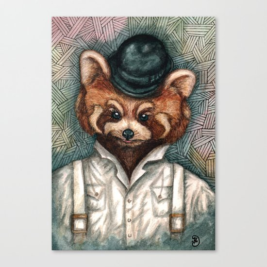 Cute Red Panda in Bowler hat Canvas Print
