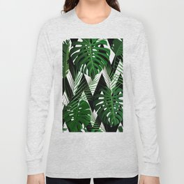Geometrical green black white tropical monster leaves Long Sleeve T-shirt