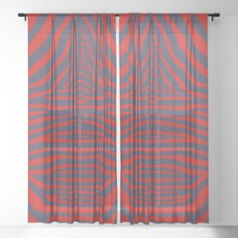 Zebra Pelt in Coral and Purple Sheer Curtain
