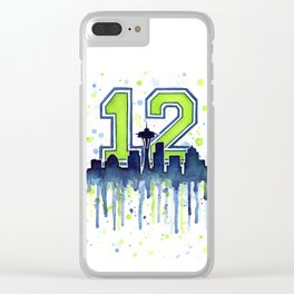 Seattle 12th Man Art Skyline Watercolor Clear iPhone Case