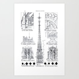 Fletcher's History of Architecture (1946) - French Gothic: Towers, Buttresses, Porches Art Print