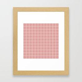 Grid Pattern Dusty Rose and beige 2 Framed Art Print