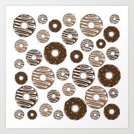 Donut Pattern, Chocolate Donuts, Caramel Donuts Art Print