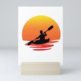 Kayak retro sunsit Mini Art Print