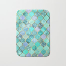 Cool Jade & Icy Mint Decorative Moroccan Tile Pattern Bath Mat