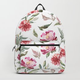 Pink flowers & green leafs pattern Backpack
