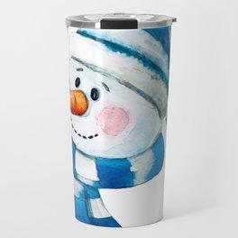Blue Snowman 01 Travel Mug