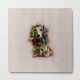 Dachshund Puppy Sketch Paint Metal Print