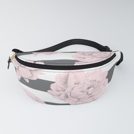 Rose Garden Stripes Pink Flamingo on Storm Gray and White Fanny Pack