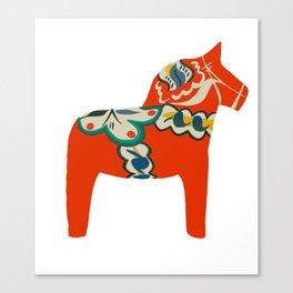 Red Swedish Dala horse Canvas Print