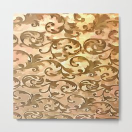 Stylized Foliage Leaves In Gold Metal Print