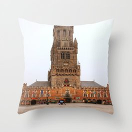Tower in Brugge  Throw Pillow