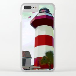 Harbour Town - Hilton Head, South Carolina - candy cane lighthouse - modern nautical photography pri Clear iPhone Case