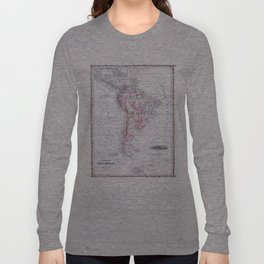 Vintage Map of South America (1861) Long Sleeve T-shirt
