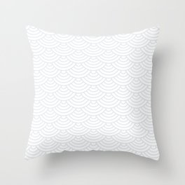 Light Grey Japanese wave pattern Throw Pillow