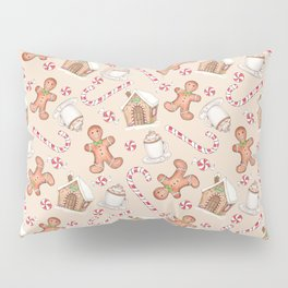 Gingerbread & Peppermint Repeat Pattern -Holiday Pattern Pillow Sham