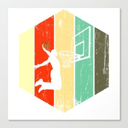 A Basketball Tee For Players With A Vintage Retro Silhouette Of A Man Showing His Skills T-shirt Canvas Print
