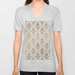 Elegant vintage white faux gold floral boutique damask Unisex V-Neck