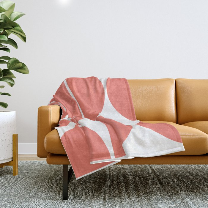 Mid Century Modern Living Coral Square Throw Blanket