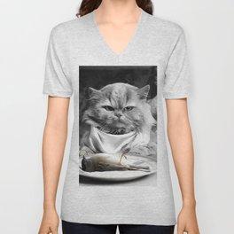 Diner Cat Unisex V-Neck