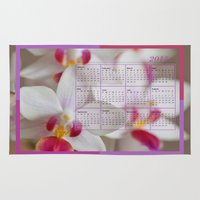 calendar Area & Throw Rugs featuring Calendar 2015 Orchids by Lena Photo Art