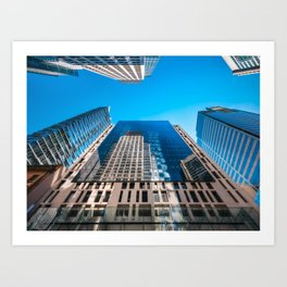 Looking up from George street at major City Towers in Sydney Art Print