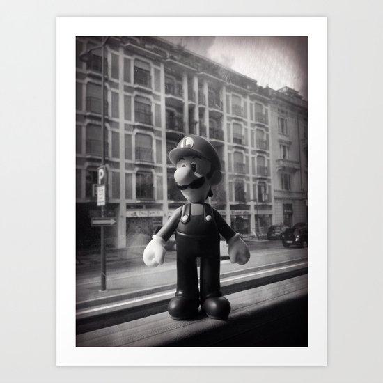 Luigi in the city Art Print