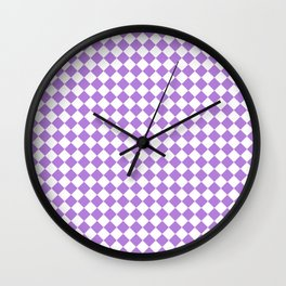 White and Lavender Violet Diamonds Wall Clock