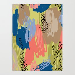 Modern coral brown blue black abstract brushstrokes Poster